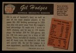 1955 Bowman #158  Gil Hodges  Back Thumbnail