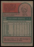 1975 Topps #609  Ellie Hendricks  Back Thumbnail