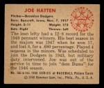 1950 Bowman #166  Joe Hatten  Back Thumbnail