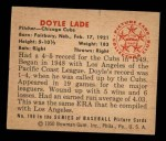 1950 Bowman #196 CPR Doyle Lade  Back Thumbnail