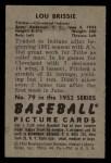 1952 Bowman #79  Lou Brissie  Back Thumbnail