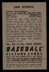 1952 Bowman #84  Sam Jethroe  Back Thumbnail