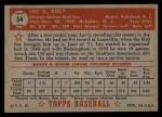 1952 Topps #54 RED Leo Kiely  Back Thumbnail