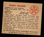 1950 Bowman #180  Harry Walker  Back Thumbnail