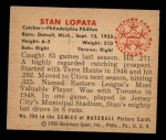 1950 Bowman #206 CPR Stan Lopata  Back Thumbnail