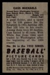 1952 Bowman #36  Cass Michaels  Back Thumbnail