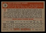 1952 Topps #78  Ellis Kinder  Back Thumbnail