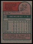 1975 Topps #607  Jim Holt  Back Thumbnail