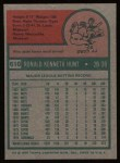 1975 Topps #610  Ron Hunt  Back Thumbnail
