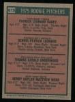 1975 Topps #615   -  Dennis Leonard / Tom Underwood / Pat Darcy / Hank Webb Rookie Pitchers   Back Thumbnail