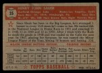 1952 Topps #35 RED Hank Sauer  Back Thumbnail