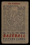 1951 Bowman #19  Sid Gordon  Back Thumbnail
