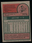 1975 Topps #480  Carlos May  Back Thumbnail