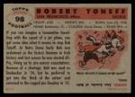 1956 Topps #98  Bob Toneff  Back Thumbnail