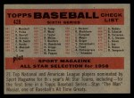 1958 Topps #428 NUM  Reds Team Checklist Back Thumbnail
