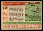 1955 Topps #110  Gus Zernial  Back Thumbnail