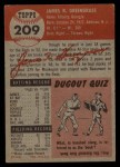 1953 Topps #209  Jim Greengrass  Back Thumbnail