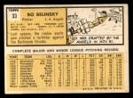 1963 Topps #33  Bo Belinsky  Back Thumbnail