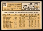 1963 Topps #376 BRK John Wyatt  Back Thumbnail