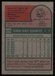 1975 Topps #478  Tom Burgmeier  Back Thumbnail