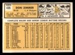 1963 Topps #439 xTOU Don Zimmer  Back Thumbnail