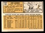 1963 Topps #485  Jim Landis  Back Thumbnail