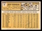 1963 Topps #28 xSTR Mike Fornieles  Back Thumbnail