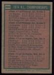1975 Topps #460   -  Steve Garvey / Frank Taveras 1974 NL Championships Back Thumbnail