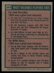 1975 Topps #203   -  Zoilo Versalles / Willie Mays 1965 MVPs Back Thumbnail