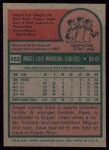 1975 Topps #452  Angel Mangual  Back Thumbnail