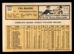 1963 Topps #512  Cal McLish  Back Thumbnail