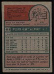 1975 Topps #481  Will McEnaney  Back Thumbnail