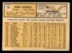 1963 Topps #139  Earl Averill Jr.  Back Thumbnail