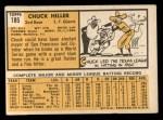 1963 Topps #185 *ERR* Chuck Hiller  Back Thumbnail