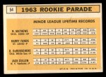 1963 Topps #54 III  -  Dave DeBusschere / Nelson Matthews / Harry Fanok / Jack Cullen  Rookies  Back Thumbnail