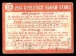 1964 Topps #528   -  Dave Duncan / Tom Reynolds Athletics Rookies Back Thumbnail