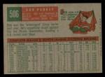 1959 Topps #506  Bob Purkey  Back Thumbnail