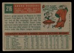 1959 Topps #216  Andre Rodgers  Back Thumbnail