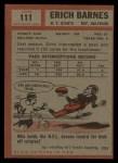 1962 Topps #111  Erich Barnes  Back Thumbnail