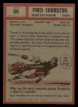 1962 Topps #69  Fred Thurston  Back Thumbnail