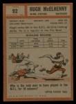1962 Topps #92  Hugh McElhenny  Back Thumbnail