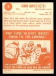 1963 Topps #8  Gino Marchetti  Back Thumbnail