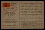 1954 Bowman #22  Floyd Reid  Back Thumbnail
