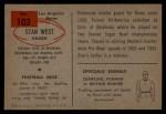 1954 Bowman #103  Stan West  Back Thumbnail