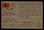 1954 Bowman #62  Bill Lange  Back Thumbnail