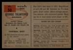 1954 Bowman #50  George Taliaferro  Back Thumbnail