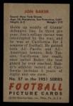 1951 Bowman #57  John Baker  Back Thumbnail