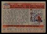 1957 Topps #371  Bob Lennon  Back Thumbnail