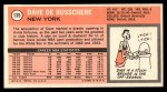 1970 Topps #135  Dave Debusschere   Back Thumbnail