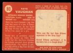 1958 Topps CFL #80  Kaye Vaughan  Back Thumbnail